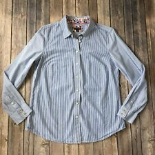 Talbots Top Women S 4 6 Striped Nautical Floral Contrast Cotton Button Up Down