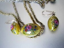 VINTAGE VENETIAN GLASS BEAD YELLOW+ROSE DOUBLE NECKLACE + EARRINGS GOLD F.