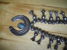 Pawn Native American Squash Blossom Silver & Turquoise Necklace enhanced Naja