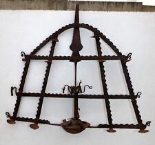 Antique Iron Oil Lamp Deepak Worship Lamp Peacock Statue Ritual Hand Forged