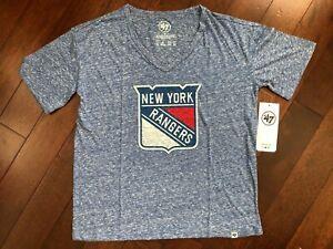 47 BRAND NEW YORK RANGERS TRI BLEND PREMIER HALE V-NECK ADULT S WOMEN'S T-SHIRT
