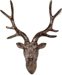 42cm Wall Mounted STAG HEAD DEER ANTLERS Wall Plaque Decoration Sculpture Figure