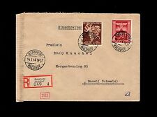 Germany WWII Registered Mannheim 1944 Munich Censor Basel Switzerland Cover  7p