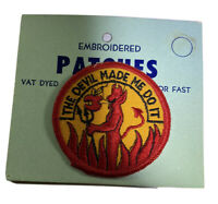 Vintage The Devil Made Me Do It Patch Embroidered 1970s Clothing Accessory