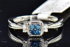 Blue & White Diamond Engagement Ring Round Cut 10K White Gold 0.15 CT