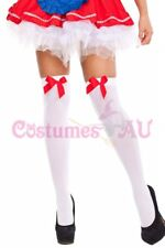 Ladies White Thigh High Stockings with Bow Tights Oktoberfest Beer Maid Wench