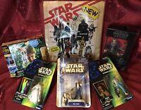 Star Wars Action Figure Lot Han Solo Leia Greedo Dj Force Link 2.0 Gift Bag Set