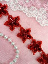 "Star Trim Red Sequin Beaded Iron On 1"" Banding Petite (XR359-rd)"