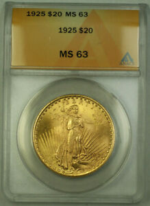1925 St. Gaudens Double Eagle $20 Gold Coin ANACS MS-63 (B)