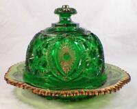 Memphis Butter Dish Green Northwood #19 Early American Pattern Glass Lid Good