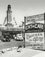 Vintage 1935 HOLLYWOOD Photo * FAST FOOD * EAT IN CAR * Old Cars Americana 8x10