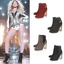 Dolcis Zip Block Heel Faux Suede Upper Shoes for Women