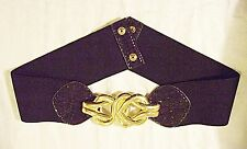 *VINTAGE 70S 80S BELT KNOTTED METAL DETAIL BLACK ELASTIC PARTY DISCO GLAM GOTH S