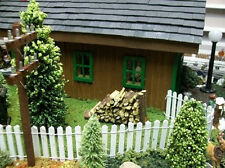 WHITE PICKET FENCE for Fairy Gardens, Model Railroad or Doll House Scenery