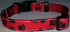 Paws COLLAR Cat Dog Small Pet Cute Puppy Kitten Bell Lap Mini Red Black M L New
