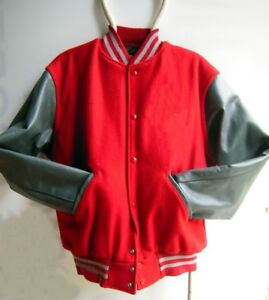 Leather Sleeve Holloway Varsity Jacket Scarlet Red/Gray Mentor, Ohio State color