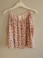 H and M Floral Floaty Crop Top Pink Yellow Purple Size 8 Summer Cropped