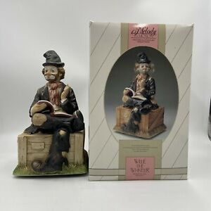 Melody in Motion Wille the Whistler Hobo Clown Musical Statue Tested and Works