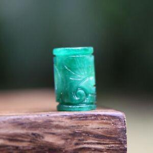 Carved Green Jade Tube Gemstone Dreadlock Bead 6mm Hole (1/4 Inch) Dread Hair