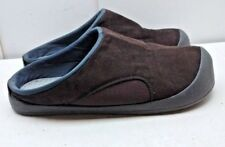 Brookstone Men Brown Suede Slip On Slide Slippers Rubber Covers Inserts Shoes XL