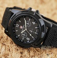 Mens Sport Watch Canvas Analog Quartz Waterproof Fahion Military Watches Black