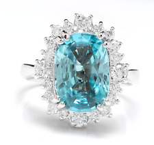 6.75 Carats Natural Blue Zircon and Diamond 14K Solid White Gold Ring