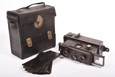 Verascope stereo camera by Jules Richard. Format 45x107 mm with case and holders