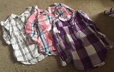 3pk toddler girl Plaid Long Sleeve Henley Shirts..sz: 4t