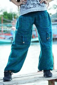 Warm Harem Hippie Pants Blue Green Mix Yoga Festival Loose Boho Gypsy Comfy Soft