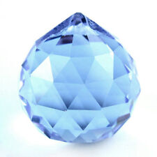 BLUE CRYSTAL BALL SUN CATCHER FENG SHUI HANGING CRYSTAL RAINBOW PRISM 30MM T1