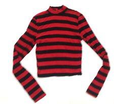 RUE21 Women's TShirt Blouse LongSleeve Stripe Top Turtleneck Black  Red L    A32