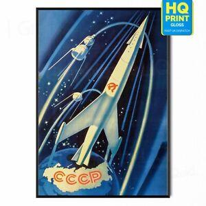 Vintage Soviet Space Rocket Art Poster Print CCCP USSR   A5 A4 A3  