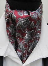 Mens Burgundy & Grey Silver Paisley Satin Ascot Cravat & Pocket Square-UK Made