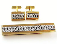 Swank Vintage 1940s 50s Cufflinks Set with Tie Bar Clip Chunky Chain Steampunk