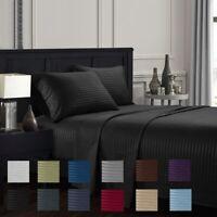 4P Microfiber Striped Deep Pocket Hotel Luxury Bed Sheet Set 1800 Count Sheets