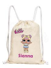 Personalised Girls LOL Dolls Cotton Canvas Drawstring Gym/ PE Bag- 'Dawn'