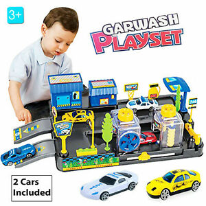 Kids Childrens Car Wash Garage Station Role Play Set Toy + 2 Vehicles Gift Box