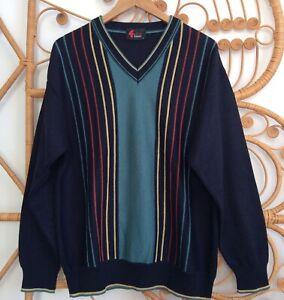 Mens Vintage Gabicci Sportivo Long Sleeved Stripe Jumper Large V Neck Wool Mix