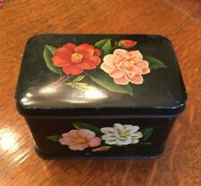 "Vintage Tin Lovely Colorful Flowers 4 x 2.5 x 2.5"" Tole Look Candy?  Biscuits?"