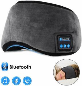 Wireless Bluetooth 5.0 Stereo Eye Mask Headphones Earphone Sleep Headset Grey UK