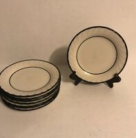 Vintage RARE S Swirl Black 355 Japan Black and White Salad Plate Set of 8