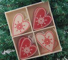 Scandi Cuore Albero di Natale Decorazioni in Scatola Set di 12 Rosso Crema Heaven Sends