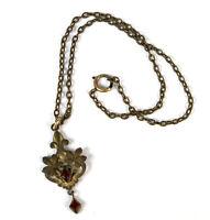 Art Nouveau Childrens Pendant Necklace Filigree Garnet or Red Glass Vintage 1930