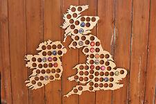 Large UK Beer Cap Map Bottle Cap Holder Collection Gift Art