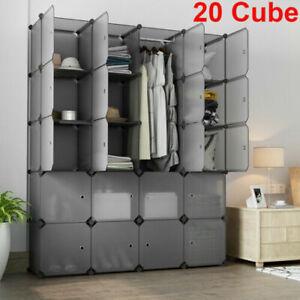 20-Cube DIY Plastic Wardrobe Cupboard Closet Cabinet Stackable Organizer Storage