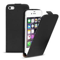 Flip Case Apple iPhone 4 4S Hülle Pu Leder Klapphülle Handy Tasche Cover Schwarz