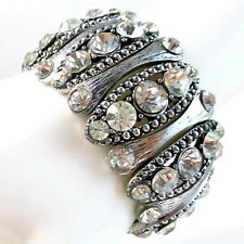 USA Bracelet vintage silve black rhinestone bead CRYSTAL stretchable large wide