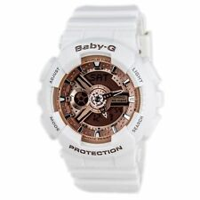 Casio Baby G White Resin Rose Gold Dial Analog Digital Ladies Watch BA110-7A1