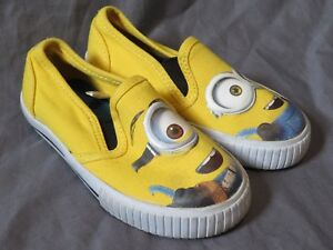 Toddler Boy's Minons Despicable Me Yellow Slip On Loafers Canvas Shoes ~ Size 7
