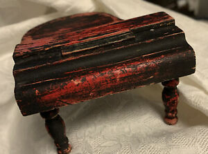 Vtg Handmade Grand Piano ~ Primitive ~ Painted ~ Dollhouse Furniture Wooden 1:16